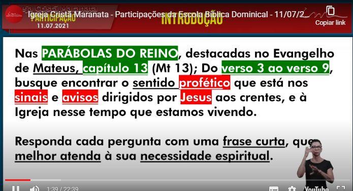 Igreja Cristã Maranata – Igrejas do Brasil – 11/07/2021 Domingo